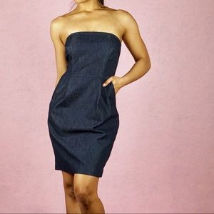 EXPRESS Denim Pleat Front Strapless Dress